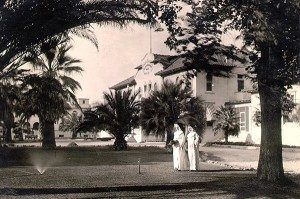 Sisters on the grounds of St. Joseph Hospital in the early days