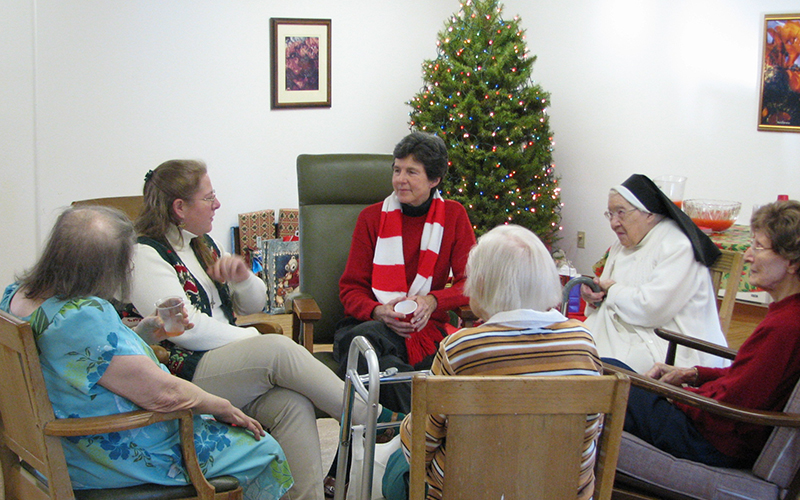 Formation Community visiting sisters at Lourdes Convent, our care facility